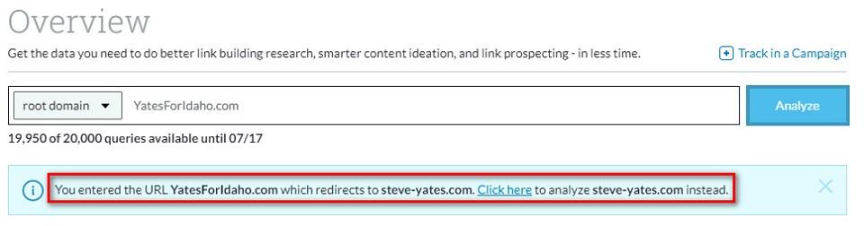 redirected domain